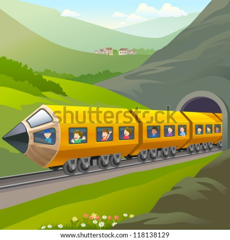 Kids Taking A Train Ride - stock vector