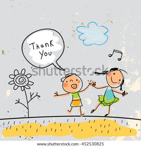 Kids thank you card vector illustration. Sketch, scribble style doodle. - stock vector