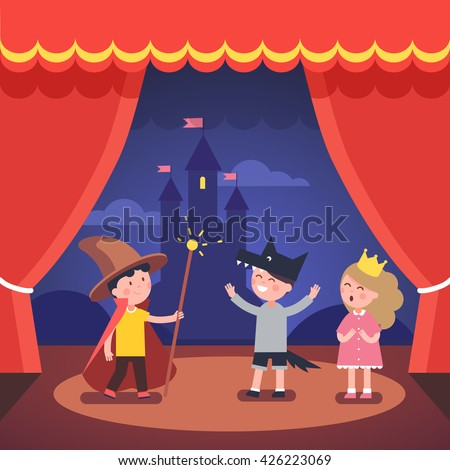 Kids theater performance show on scene with red curtains and fairy tale castle scenery. Modern flat style vector illustration cartoon clipart. - stock vector