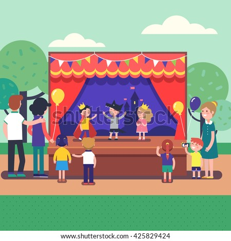 Kids Theater Performance Show On Scene Stock Vector ...