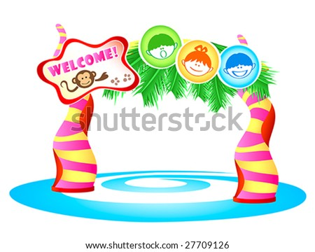 Kids theme park enter in tropical style - stock vector