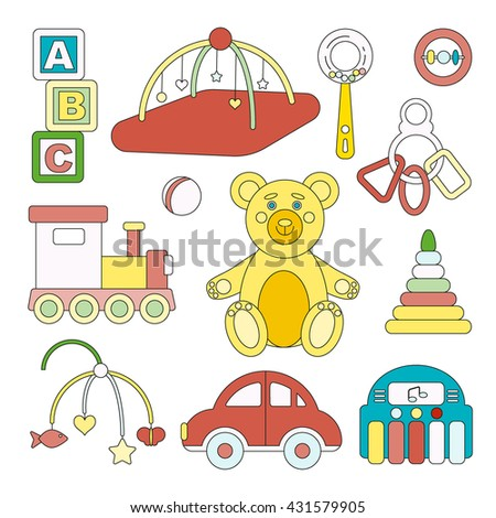 Kids toys isolated on white background vector icons - children's items including cubes, bear, playing mat, xylophone, train, car, pyramid, ball and beanbag.