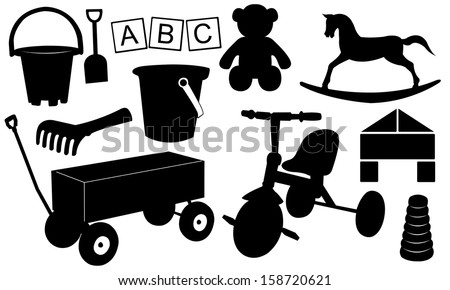 kids toys set isolated - stock vector
