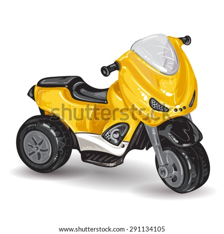 Kids tricycle on white background - stock vector