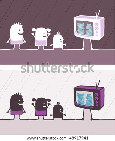 kids & TV colored cartoon - stock vector