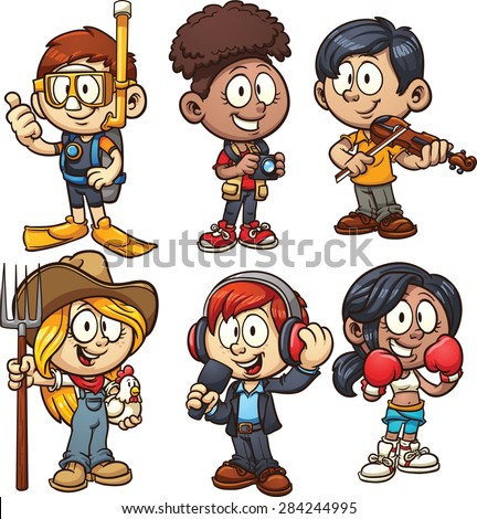 Kids using costumes for different occupations. Vector clip art illustration with simple gradients. Each on a separate layer. - stock vector