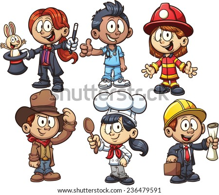 Kids using costumes from different occupations. Vector clip art illustration with simple gradients. Each on a separate layer. - stock vector