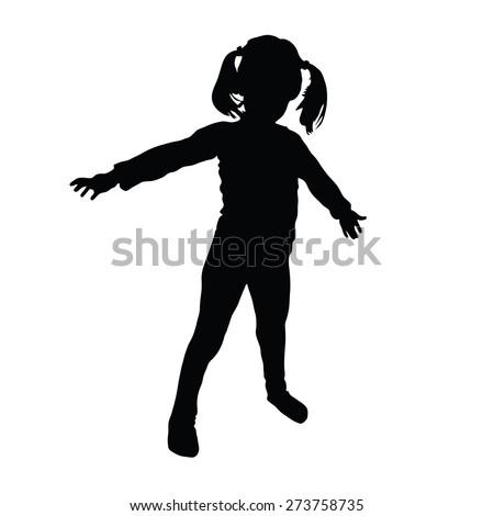 kids vector art silhouette - stock vector