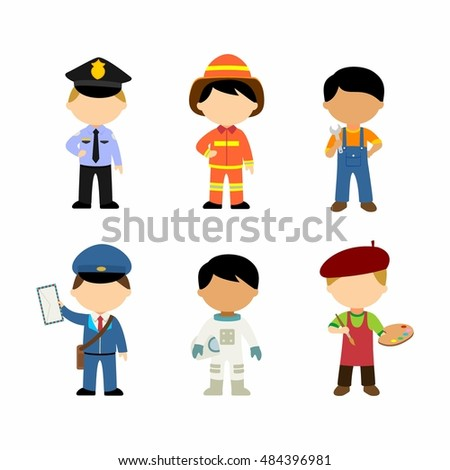 Kids vector illustration cartoon character of different profession: suitble for icon or education use.