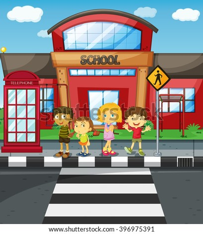 Kids waiting to cross the road in front of school illustration