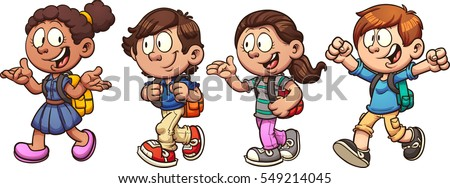 Kids walking and talking back to school. Vector clip art illustration with simple gradients. Each on a separate layer.