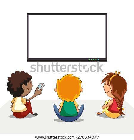Kids watching tv, blank screen, vector illustration - stock vector