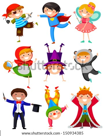 kids wearing different costumes  - stock vector