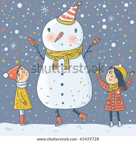 Kids with a funny Snowman - stock vector