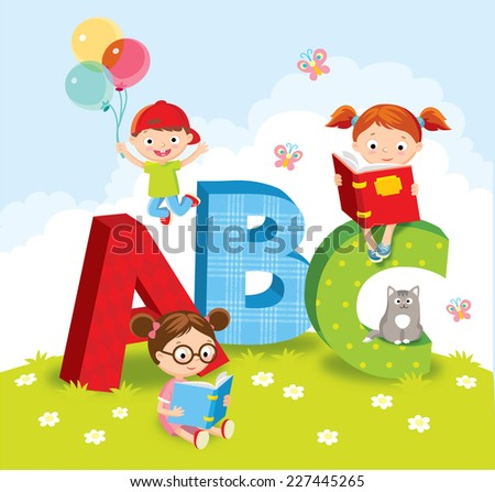 kids with books - stock vector