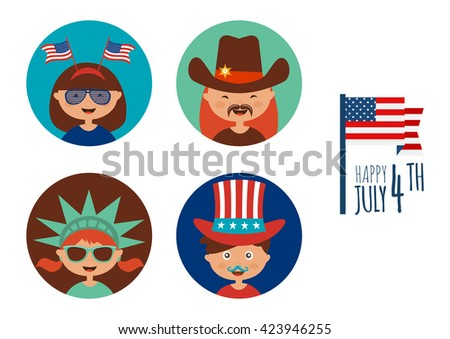 kids with costume and props for independence day of America - stock vector