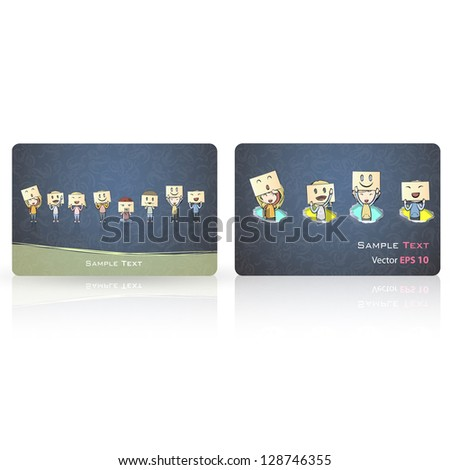 Kids with emotions inside a business card. Vector design - stock vector