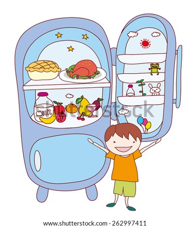 Kids with food and drink, isolated vector. refrigerator.  - stock vector