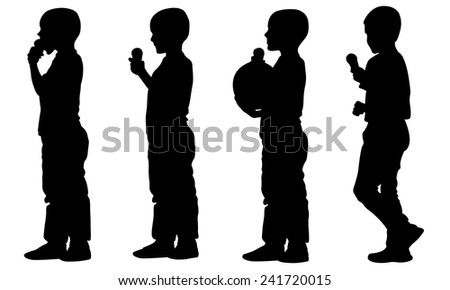 kids with ice-cream  - stock vector