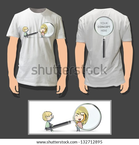 Kids with magnifying lens printed on white shirt. Vector design. - stock vector