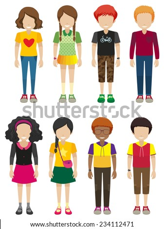 Kids with no faces on a white background  - stock vector