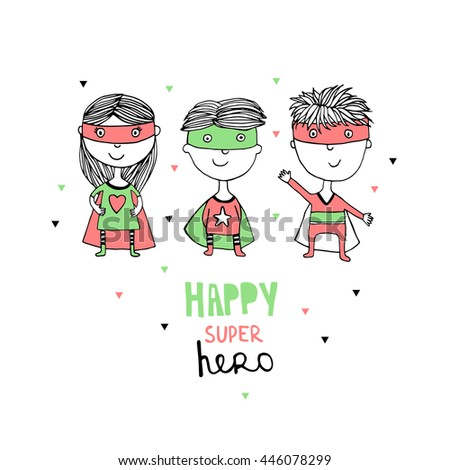 Kids With Superhero Costumes set, Cute little Superhero Children's collection,  - stock vector