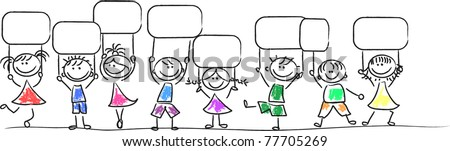 Kids with tags - stock vector