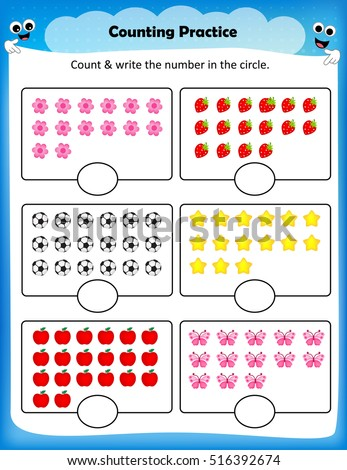 Kids Worksheet Counting Practice Maths Worksheet Stock Photo (Photo ...