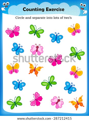 Kids worksheet with counting exercises | count and separate into lots of two s - stock vector