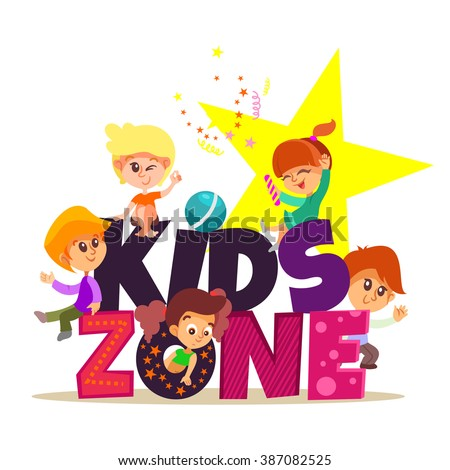 Kids zone design concept with group of little boys and girls laying together. Vector illustration isolated on white background - stock vector