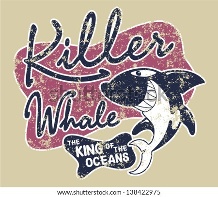 Killer whale badge - artwork for children wear in custom colors, grunge effect in separate layer. - stock vector