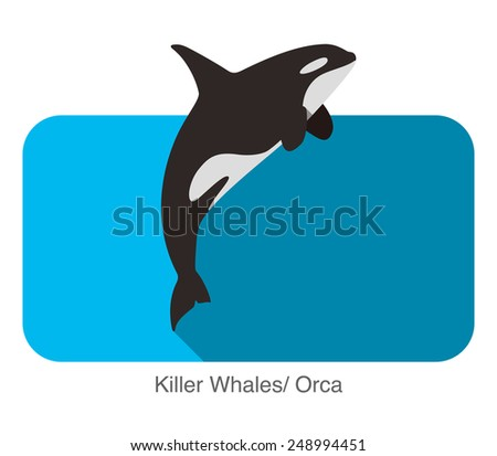 Killer whale Jumping in the sea flat icon design - stock vector