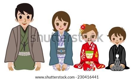 Kimono family sitting on heels - stock vector