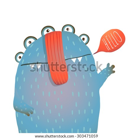 Kind and Cute Funny Monster Saying Hello Waving. Colorful hand drawn illustration for kids of cute creature. Vector drawing. - stock vector