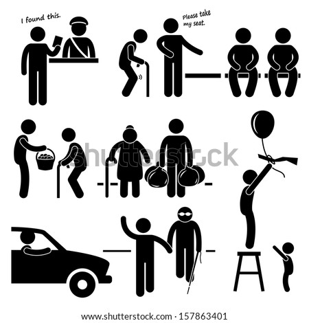 Kind Good Hearted Man Helping People Stick Figure Pictogram Icon - stock vector