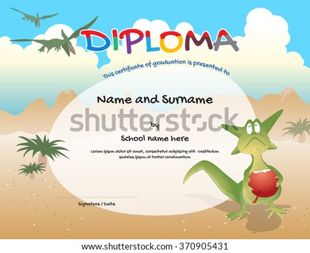 kindergarten certificate template preschool graduation course stock