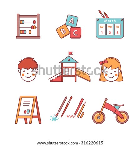 Kindergarten education icons thin line set. Girl, boy, abacus, abc blocks, calendar, playground slide and other equipment. Flat style color vector symbols isolated on white. - stock vector