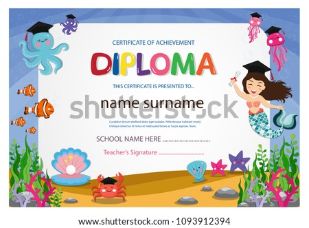 kindergarten graduation certificates background design templates