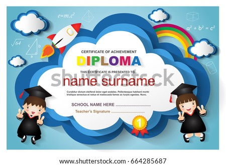 Kindergarten Graduation Certificates Background Design Templates