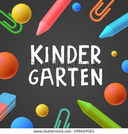 Kindergarten, preschool background, art and craft, play and learn, vector illustration. - stock vector