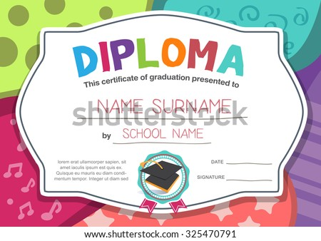 kindergarten Preschool Elementary school Kids Diploma certificate background design template - stock vector