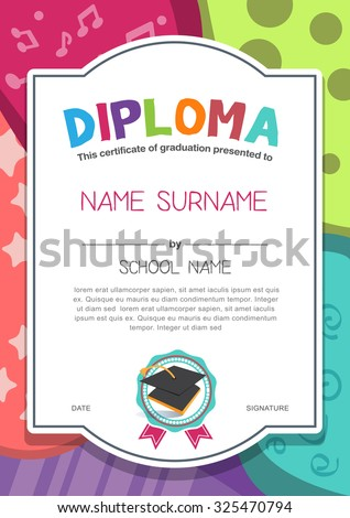 kindergarten preschool elementary school kids diploma stock vector  kindergarten preschool elementary school kids diploma certificate background design template