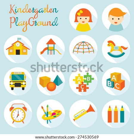 Kindergarten, Preschool, Objects Icons Set, Kids, Education, Learning and Study Concept