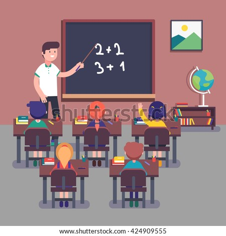 Kindergarten teacher teaching math to his small pupils. Kids learning mathematics. Smiling characters. Modern flat style color vector illustration. - stock vector