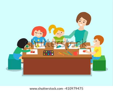 Welcome back school teacher teaching students stock vector for Teaching kids to paint on canvas