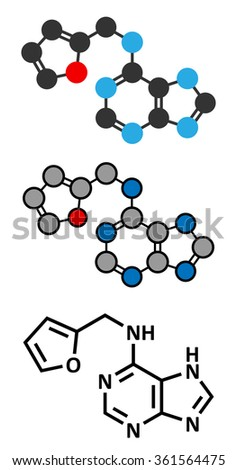Kinetin (N6-furfuryladenine) plant hormone molecule. Promotes cell division in plants. Used in skin care and cosmetics for supposed anti-aging properties.  - stock vector