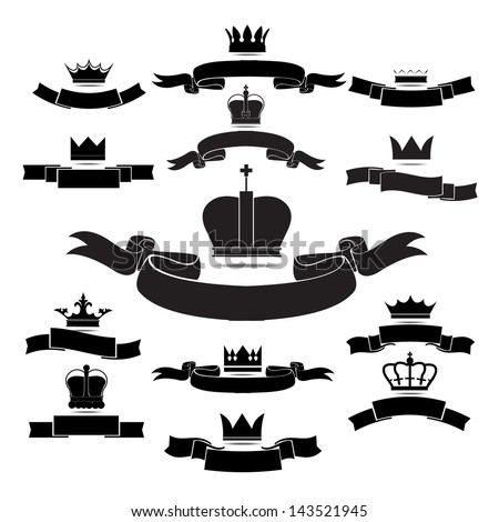king and queen crown silhouette icon set isolated on white background - stock vector