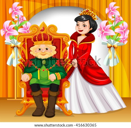 King and queen wearing crowns illustration