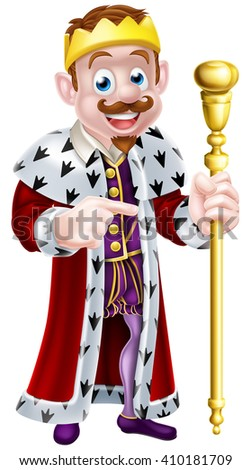 King cartoon character wearing a crown, holding a sceptre and giving a thumbs up