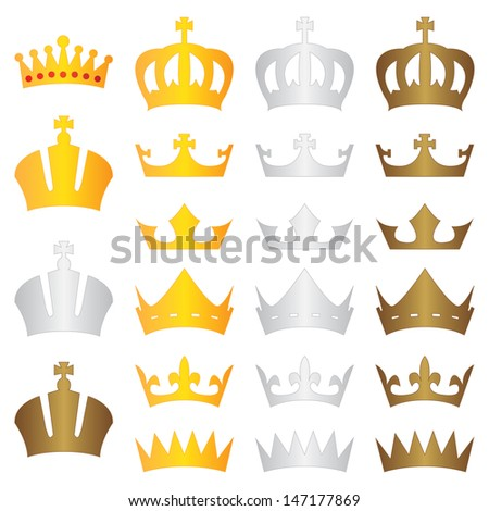 king crown gold silver bronze - stock vector